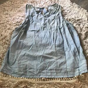 Thin light blue short sleeve top